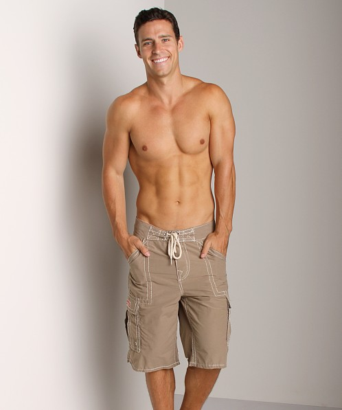 True Religion Payload Board Shorts Wheat