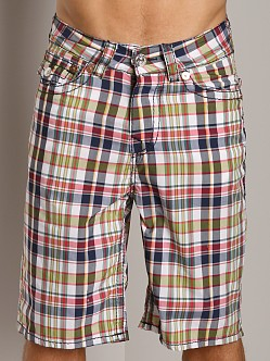 True Religion Plaid Board Shorts Seaside