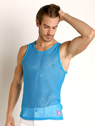Model in turquoise Vaux VX1 Mesh See-Thru Tank Top