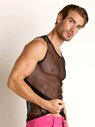 Model in black Vaux VX1 Mesh See-Thru Tank Top
