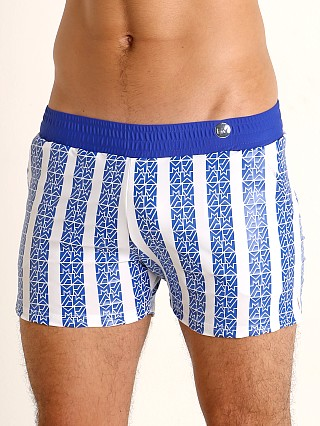 Model in blue Modus Vivendi Tyres Foil Swim Short