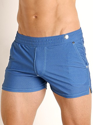 Model in blue Modus Vivendi Jeans Line Swim/Walk Short