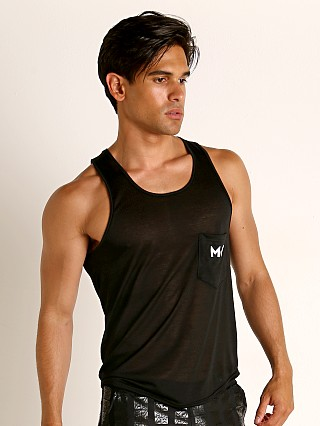Model in black Modus Vivendi Peace Line Translucent Tank Top