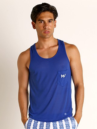 Model in blue Modus Vivendi Peace Line Translucent Tank Top