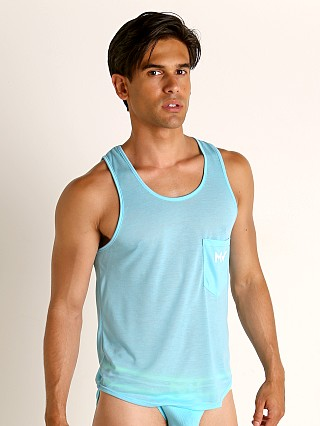 Model in aqua Modus Vivendi Peace Line Translucent Tank Top