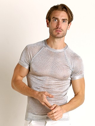 Model in silver Modus Vivendi Armour Line Mesh T-Shirt