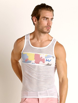 Model in white Modus Vivendi Camouflage Mesh Tank Top