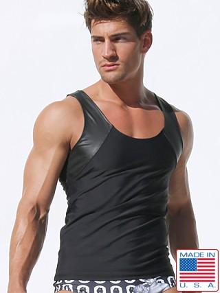 Rufskin Tom of Finland Nick Latex Panel Fitted Tank Top Black