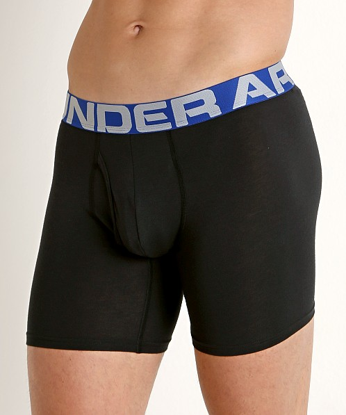 "Under Armour Charged Cotton 6"" Boxerjock 3-Pack Black/Blue"