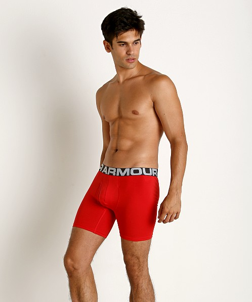 "Under Armour Charged Cotton 6"" Boxerjock 3-Pack Red"