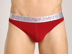 Emporio Armani X-Mas 3D Stretch Cotton Thong Carmine
