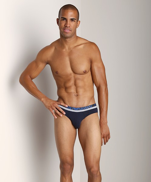 Emporio Armani Melange Insert Stretch Cotton Brief Marine