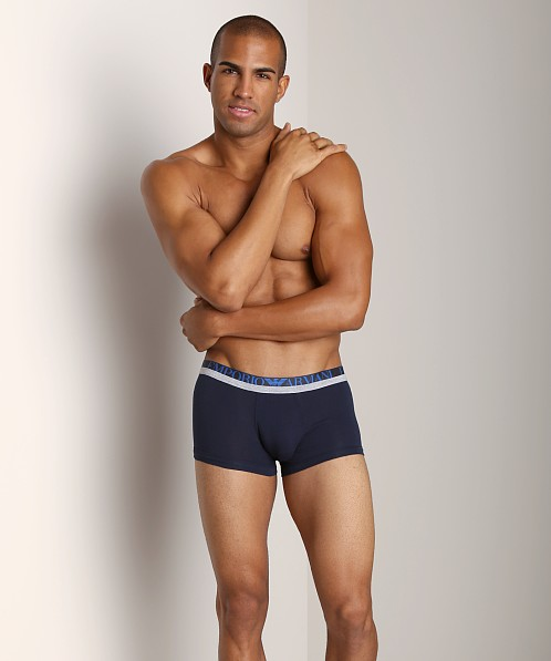 Emporio Armani Melange Insert Stretch Cotton Trunk Marine