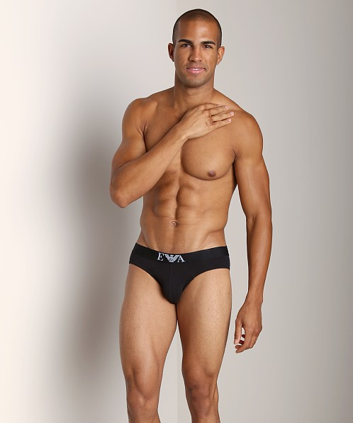 Emporio Armani Seven Stripes Stretch Cotton Brief Black