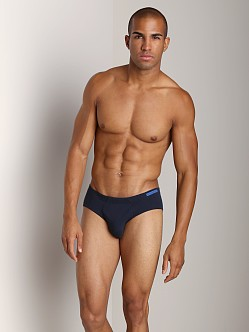 Emporio Armani Embroidery Logo Stretch Cotton Brief Marine