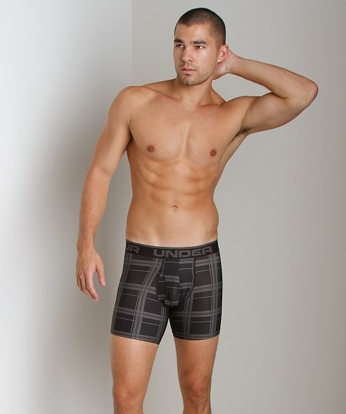 "Under Armour Original 6"" Boxer Jock Black/Charcoal Plaid"