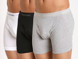 Model in grey heather/white/black Calvin Klein Cotton Classics Boxer Briefs 3-Pack Grey/Wht/Black