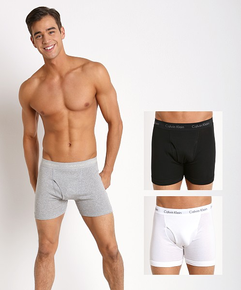 Calvin Klein Mens 3 Pack Modal Ultra Soft boxer briefs Black Grey Size Large NWT Amazing super soft 92% modal and 8% elastane fabric in material. Soft against the skin, these have a contour pouch for support and stretch for comfort when you move.