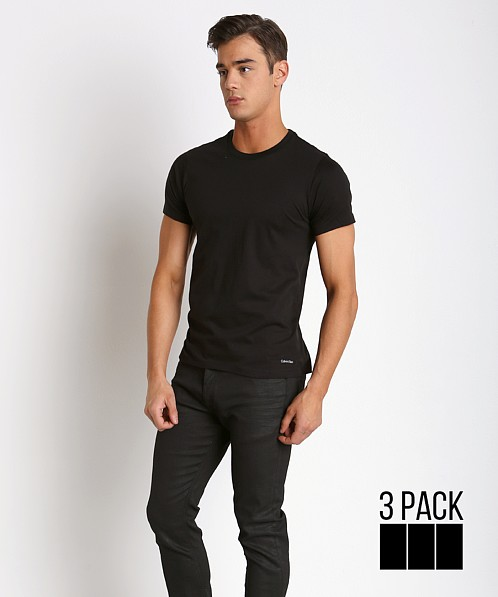 692f8c6535c Calvin Klein Cotton Classics Crew Neck Shirt 3-Pack Black