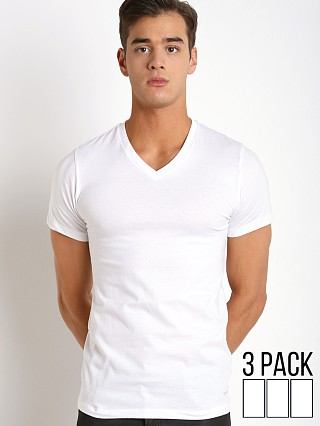Model in white Calvin Klein Cotton Classics V-Neck Shirt 3-Pack