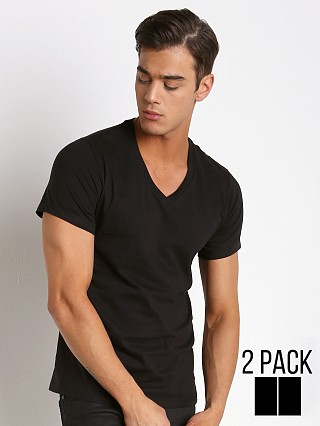 Calvin Klein Cotton Stretch V-Neck Shirt 2-Pack Black