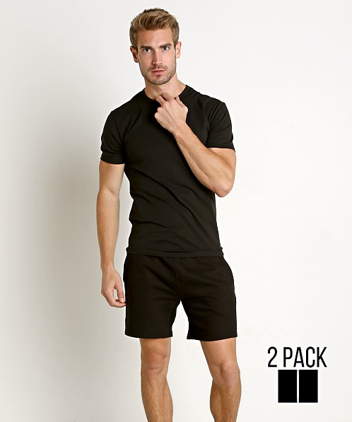 9022faf9026b53 Calvin Klein Cotton Stretch Crew Neck Shirt 2-Pack Black NB1178-001 at  International Jock
