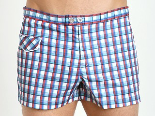 "Parke and Ronen 2"" Lido Print Swim Short Blue Red Sherwood"