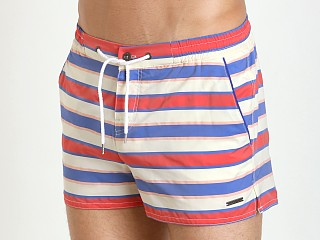 "Parke and Ronen 2"" Barcelona Swim Short Red Dickie Stripe"