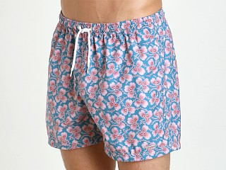 "Parke and Ronen 4"" Volley Swim Short Teal Rose Greenleaf"