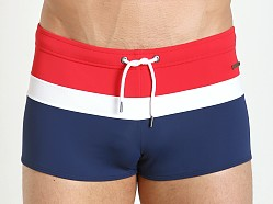 Parke and Ronen Ibiza Tri-Color Swim Trunk Red White Blue