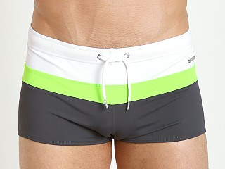 Parke and Ronen Ibiza Tri-Color Swim Trunk White Lime Charcoal