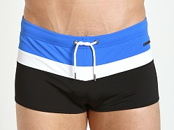Parke and Ronen Ibiza Tri-Color Swim Trunk Royal White Black