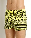 Diesel All Over Logo Sandy Swim Shorts Yellow, view 3