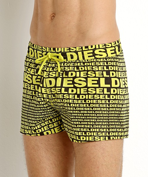 Diesel All Over Logo Sandy Swim Shorts Yellow