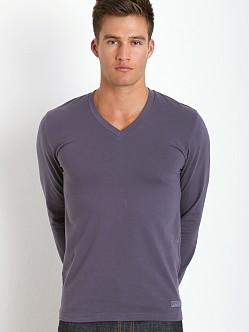 Calvin Klein Long Sleeve V-Neck Shirt Black Orchid