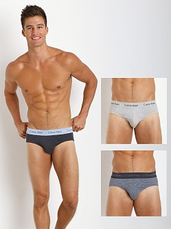Calvin Klein Cotton Stretch 3-Pack Hip Brief Blue/Stripe/Grey