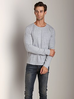 Nudie Jeans Long Sleeve Pocket T-Shirt Org Herringbone