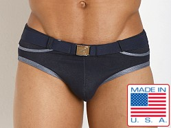 Pistol Pete Rider Belt Buckle Swim Brief Denim Blue