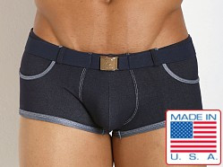 Pistol Pete Rider Belt Buckle Swim Trunk Denim Blue