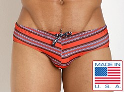 Pistol Pete Striped Tangier Swim Brief Red