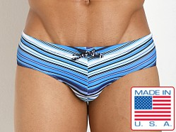 Pistol Pete Striped Tangier Swim Brief Blue