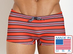 Pistol Pete Striped Tangier Swim Trunk Red