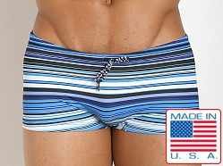 Pistol Pete Striped Tangier Swim Trunk Blue