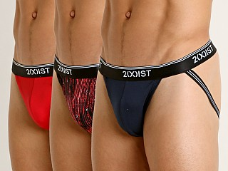 2xist Stretch Jock Strap 3-Pack Toreador/Navy