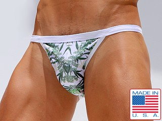 Rufskin Canna Euro-Cut Swim Brief Hemp Flower Print White