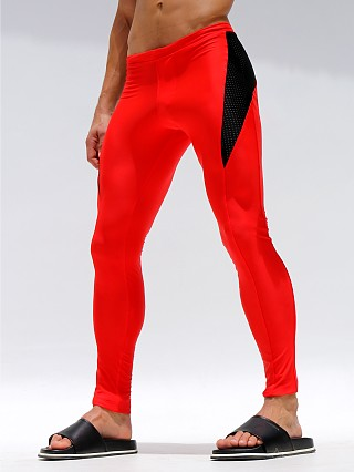 Rufskin Bait Stretch Mesh Panel Sport Leggings Red