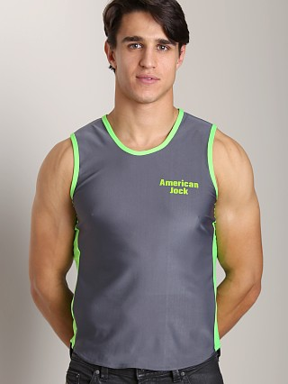 Complete the look: American Jock Logo Muscle Tee Charcoal/Lime