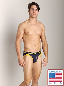 American Jock Hi-Cut Brief Navy/Yellow