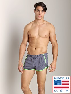 American Jock Glory Running Short Charcoal/Lime