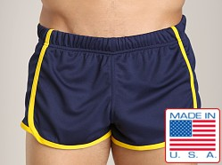 American Jock Glory Running Short Navy/Yellow